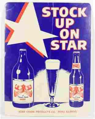 Vintage Star Model Beer Advertising Laminated Cardboard