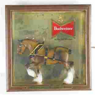 Vintage Budweiser Clydesdale Light Up Advertising Beer