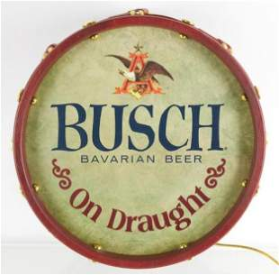 Vintage Busch Light Up Advertising Beer Drum Sign