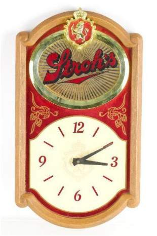 Strohs Advertising Battery Powered Beer Clock