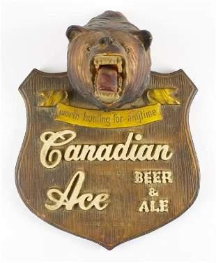 Vintage Canadian Ace Advertising Bear Chalk Sign