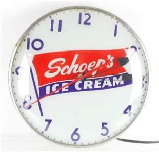 Vintage Schoeps Ice Cream Light Up Advertising Clock