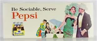 Vintage Pepsi Cardboard Advertising Trolley Sign