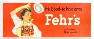 Vintage Fehr's Beer Cardboard Advertising Trolley Sign