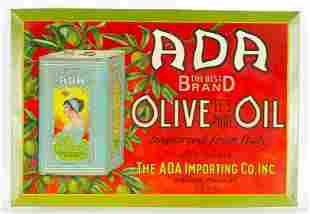 Vintage Ada Olive Oil Advertising Tin on Cardboard Sign