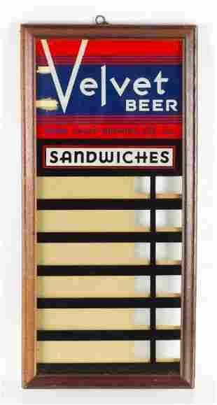 Vintage Velvet Beer Advertising Reverse Painted Glass