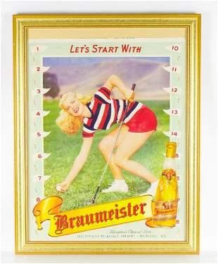 Vintage Braumeister Pilsner Framed Advertising Sign