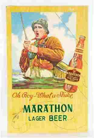 Vintage Marathon Lager Beer Advertising Cardboard Sign