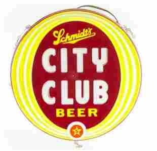 Vintage Schmidts City Club Beer Light Up Sign