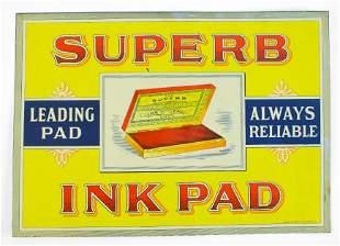 Antique Superb Ink Pad Advertising Tin Tacker Sign