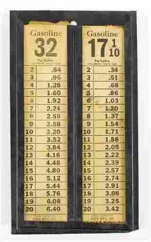 Vintage Dibb Mfg. Co. Gasoline Price Sheets w/ Display