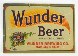 Antique Wunder Beer Advertising Cardboard Sign