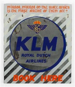 Vintage KLM Royal Dutch Airlines Advertising Mirror