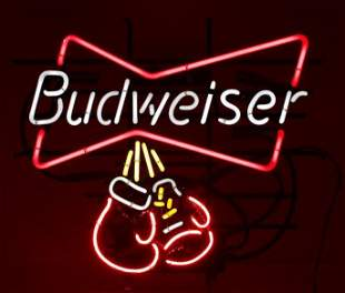 Budweiser Light Up Advertising Boxing Gloves Neon Beer