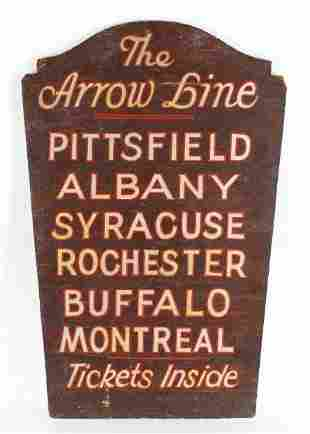 Vintage The Arrow Bus Line Tickets Inside Wood Sign