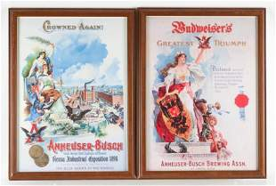Group of 2 Reproduction Anheuser Busch Framed Prints