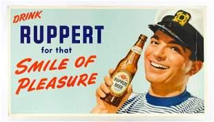 Vintage Ruppert Beer Advertising Cardboard Sign