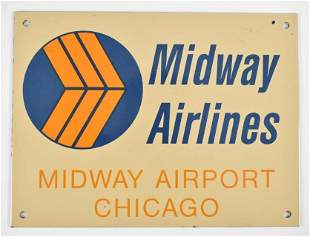 Vintage Midway Airlines Chicago Porcelain Sign