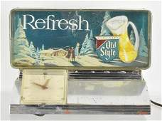 Vintage Old Style Light Up Advertising Beer Sign Clock