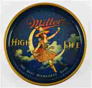 Rare 1930s Miller High Life Advertising Metal Beer Tray