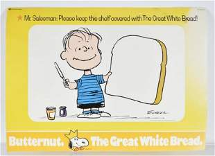 Vintage Peanuts Butternut Bread Advertising Poster