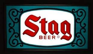 Vintage Stag Beer Light Up Advertising Glass Sign