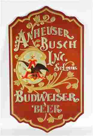 Embossed Anheiser Busch Budweiser Advertising Beer Sign