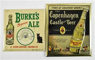 Group of 2 Vintage Tin over Cardboard Advertising Beer