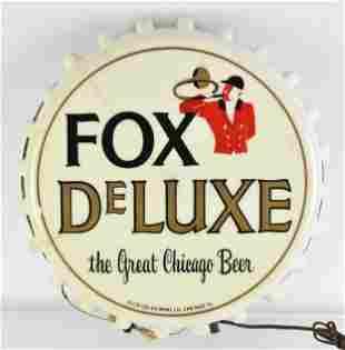 Vintage Fox Deluxe Beer Light Up Advertising Bottle Cap