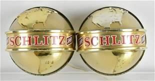 Pair of Vintage Schlitz Light Up Advertising Wall Globe