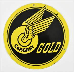 Vintage Cargray Gold Advertising Porcelain Sign