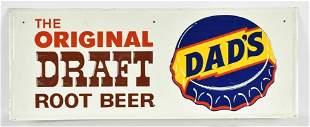 Vintage Dads Draft Root Beer Advertising Metal Sign