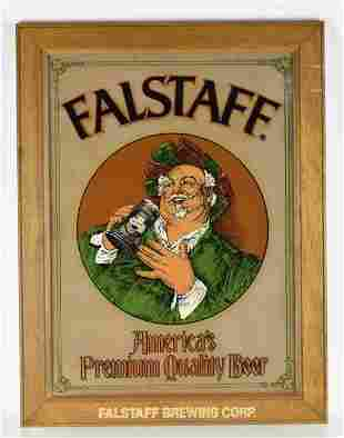 Vintage Falstaff Reverse Painted Glass Advertising Beer