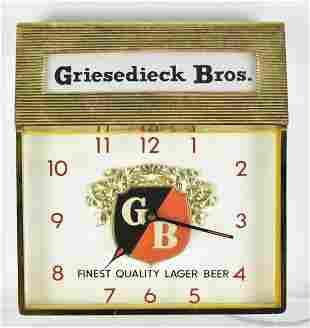 Vintage Griesedieck Bros Light Up Beer Clock Sign