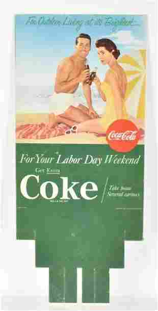 Vintage Coca Cola Advertising Six Pack Cardboard Sign