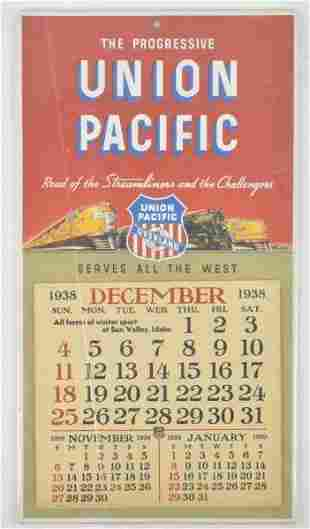 1938 Union Pacific Lines Advertising Railroad Calendar