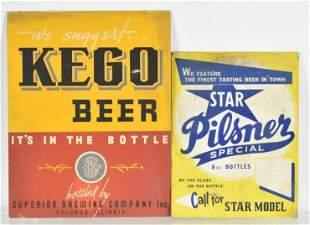 Group of 2 Vintage Cardboard Advertising Beer Signs