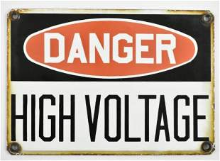 Danger High Voltage Porcelain Sign