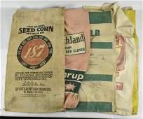 Group of 7 Vintage Advertising Seed Sacks