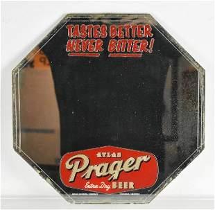 Vintage Atlas Prager Beer Advertising Mirror