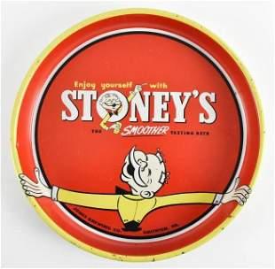 Vintage Stoneys Beer Advertising Metal Beer Tray