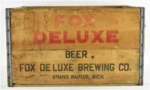 Vintage Fox Deluxe Beer Advertising Wood Crate