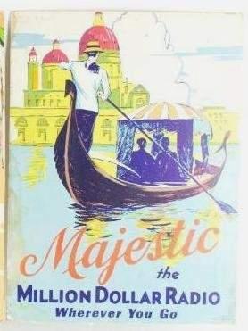 Vintage Majestic Radio Cardboard Advertising Sign