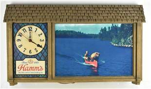 Vintage Hamms Beer Light Up Advertising Beer Clock Sign