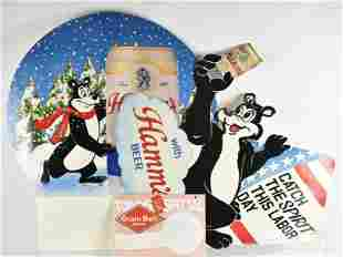 Group of 3 Hamms and Grain Belt Cardboard Advertisments