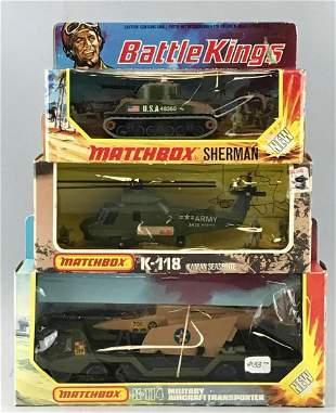 Group of 3 Matchbox Battle Kings die-cast vehicles