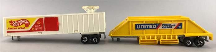 Group of 2 Hot Wheels Steering Rigs Trailers
