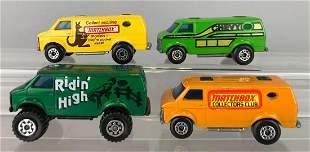 Group of 4 Matchbox Chevy Van die-cast vehicles