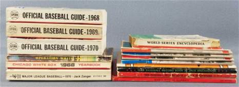Group of vintage baseball books, guides