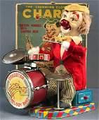 Charlie the Drumming Clown tin toy